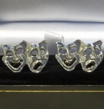 Pewter Comedy Tragedy Face Mask Cufflinks
